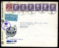 Lot 19239:1945 use of 5ø & 10ø x6 on censored air cover to England, 'Danmark Udlandspostkontrollen' label tied with violet '[crown]/314/DANMARK' (A1).
