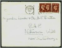Lot 3688:1941 use of 1½d Stamp Centenary & 1½d brown on cover from British Legation in Athens, cancelled on arrival in London, poor filing handstamp on back from RAF Netheravon with endorsement that the addressee's whereabouts are unknown.