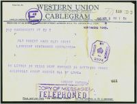 Lot 3689 [2 of 2]:1943 Western Union Cablegram and 'Telephone Confirmation' envelope from USA to Northwood, violet octagonal 'PASSED BY CENSOR/[crown]/No./2374' (A1) on telegram, censor tape has been removed from envelope.
