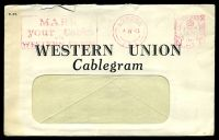 Lot 3689 [1 of 2]:1943 Western Union Cablegram and 'Telephone Confirmation' envelope from USA to Northwood, violet octagonal 'PASSED BY CENSOR/[crown]/No./2374' (A1) on telegram, censor tape has been removed from envelope.