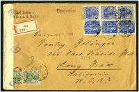 Lot 3618 [1 of 2]:1922 use of 80pf blue x3, 120pf blue x3 & 1m x2 on registered cover from Kirn to USA, currency control tape at left.