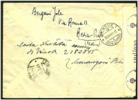 Lot 24869 [2 of 2]:1944 use of Social Republic 25c green & 1.25 blue pair, cancelled with poor Resia, on registered cover to Red Cross in Geneva, German censor tape and handstamps at left.