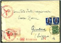 Lot 24869 [1 of 2]:1944 use of Social Republic 25c green & 1.25 blue pair, cancelled with poor Resia, on registered cover to Red Cross in Geneva, German censor tape and handstamps at left.