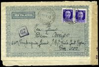 Lot 3842 [1 of 2]:1943 use of 50c violet pair, cancelled with 'PETILIA POLICASTRO/12.7.43/CATANZARO' (A2), on air lettersheet to Rhodes, 'Verificato per censura' tape at right tied by indistinct censor handstamp.