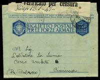 Lot 24880 [2 of 2]:1942 use of OAS military lettersheet, cancelled with 'POSTA MILITARE/18.12.42.XVI/N. 550' (A2 - Rhodes), to Palermo, 'Verificato per censura' tape at top, various censor handstamp tying tape.