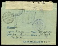 Lot 24880 [1 of 2]:1942 use of OAS military lettersheet, cancelled with 'POSTA MILITARE/18.12.42.XVI/N. 550' (A2 - Rhodes), to Palermo, 'Verificato per censura' tape at top, various censor handstamp tying tape.