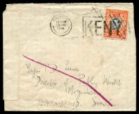 Lot 22322 [1 of 2]:1944 use of 20c (obliterated by pen), cancelled with Nairobi machine of 23AUG/1944, to Major in Mogadishu, double-circle 'E.A./23VIB44/[APO]