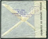 Lot 23933 [2 of 2]:1944 use of 3d & 1/- on air cover to England, 'P.C. 90/OPENED BY EXAMINER' tape at left tied by violet octagonal '[crown]/PASSED/PP/14'.