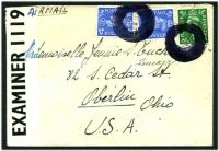 Lot 23402:1942 use of ½d & 2½d pair, datestamp obliterated for security purposes on air cover to USA from soldier in Free Belgian Army, PO Box 218 used as undercover address by sender, '51-1473-G.W.D. P.C.90/OPENED BY/EXAMINER 1119' tape at left.
