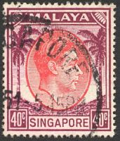 Lot 28000:1948-52 KGVI Perf 17½x18 SG #26 40c red & purple, Cat £22.