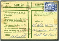 Lot 3073:1942 use of 1½a, cancelled with poor Aden of 11NOV42, to 145 Sqn Middle East Forces, magenta boxed 'R.A.F./CENSOR/22' (A2) and Egyptian bi-lingual double-circle '/M/CENSORSHIP DEPT.' (A1+) both on face.