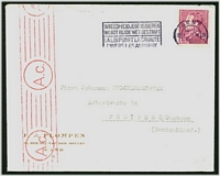 Lot 17063:1943(C.) use of 1f50 Leopold from Gent to Freiberg, Germany, fine red roller 'A.c.' censor at left (applied at Cologne).