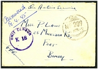 Lot 19896 [1 of 2]:1945 use of stampless OAS cover, cancelled with 'F.P.O./NO 209/  APR45' (B2 - Ramree Island), to Bombay, violet 'UNIT CENSOR/K 18' (B1) on face.