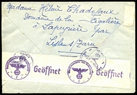 Lot 4059 [2 of 2]:1943 use of 4f Petain, cancelled with 'LISLE S/ TARN/1655 25 11/1943/TARN' (B1), on cover to Red Cross in Geneva, German censor tape with code 'l' on back.