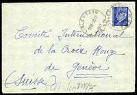 Lot 4059 [1 of 2]:1943 use of 4f Petain, cancelled with 'LISLE S/ TARN/1655 25 11/1943/TARN' (B1), on cover to Red Cross in Geneva, German censor tape with code 'l' on back.