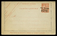 Lot 3483:1906 Surcharges 'TAXE RÉDUITE/À Of10' on 15c red on buff, value in scroll code '334' in BLC (HG #28), this does not appear to be listed by H&G.