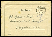 Lot 3495:1942 use of Feldpost lettersheet, cancelled with 'SULZBERG/7XII42/b' (B1), to FPO L13591 (probably Minsk, Russia).