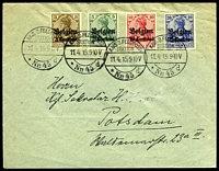 Lot 21761:1915 use of 'Belgien' 3c, 5c, 10c & 25c (Mi #1-4), cancelled with 'KAIS.D.FELDPOST/STATION/11.4.15.9-10V/Nr 45 d' (A1), to Germany, surname partly rubbed out leaving hole in face.