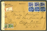 Lot 21680 [1 of 2]:1922 use of 80pf blue x3, 120pf blue x3 & 1m x2 on registered cover from Kirn to USA, currency control tape at left.
