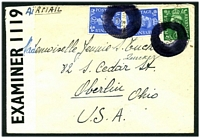 Lot 20443:1942 use of ½d & 2½d pair, datestamp obliterated for security purposes on air cover to USA from soldier in Free Belgian Army, PO Box 218 used as undercover address by sender, '51-1473-G.W.D. P.C.90/OPENED BY/EXAMINER 1119' tape at left.