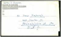 Lot 3835:1946 use of stampless POW letter sheet from German POW in Wales to USA.