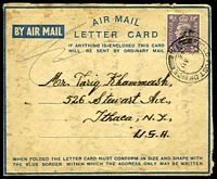 Lot 22561:1946 use of 3d, cancelled with 'FIELD POST OFFICE/5AU/46/731' (A1 - Transjordan), on air letter to USA, from Arab Legion, MEF, written in Arabic.