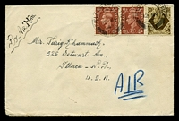 Lot 20449:1947 use of 1½d x2 & 1/-, cancelled with 'FIELD POST OFFICE/12MY/47/154' (B1 - Transjordan), on air cover to USA, from Arab Legion, MEF.