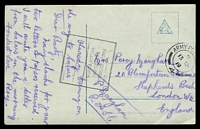 Lot 4089:1919 use of stampless OAS PPC, cancelled with double-circle 'ARMY PO[ST OFFICE]