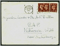 Lot 22759:1941 use of 1½d Stamp Centenary & 1½d brown on cover from British Legation in Athens, cancelled on arrival in London, poor filing handstamp on back from RAF Netheravon with endorsement that the addressee's whereabouts are unknown.