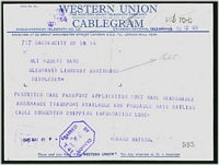 Lot 3597 [2 of 2]:1945 Western Union Cablegram and 'Telephone Confirmation' envelope from USA to Northwood, violet octagonal 'PASSED BY CENSOR/[crown]/No/T41' (A2) on telegram.