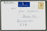 Lot 22526:1946 use of 5d on air cover to Czechoslovakia, from Free Czech Forces at Riddlesworth Camp.