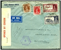 Lot 4248:1939 use of ½a, 1a, 8a (damaged) & 12a, cancelled with double-circle 'MAJEETH MANDI/30OCT39/' (C1), on air cover to USA, red '6/OPENED BY CENSOR' tape at left has been staples on, violet triangular 'PASSED CENSOR/6/KARACHI' (A1) handstamp on face, opened a bit roughly.