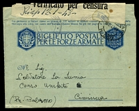 Lot 4335 [2 of 2]:1942 use of OAS military lettersheet, cancelled with 'POSTA MILITARE/18.12.42.XVI/N. 550' (A2 - Rhodes), to Palermo, 'Verificato per censura' tape at top, various censor handstamp tying tape.