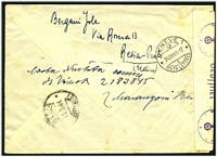 Lot 4243 [2 of 2]:1944 use of Social Republic 25c green & 1.25 blue pair, cancelled with poor Resia, on registered cover to Red Cross in Geneva, German censor tape and handstamps at left.