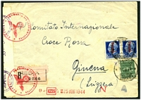 Lot 4243 [1 of 2]:1944 use of Social Republic 25c green & 1.25 blue pair, cancelled with poor Resia, on registered cover to Red Cross in Geneva, German censor tape and handstamps at left.