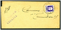 Lot 3853:1944 use of 50c violet with 'P.M.' opt on Catania local government letter.