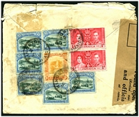 Lot 3859 [1 of 2]:1937 use of 1d Coronation pair, 3d Pictorial x7 (1 stamp completely overlaps another) & 1/- on air cover to England officially sealed in England with 'Found Open' label.