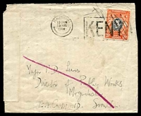 Lot 24196 [1 of 2]:1944 use of 20c (obliterated by pen), cancelled with Nairobi machine of 23AUG/1944, to Major in Mogadishu, double-circle 'E.A./23VIB44/[APO]