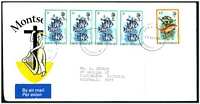 Lot 25214:1982 use of O.H.M.S. optd 5c x4 & 45c fish on air cover to Australia.