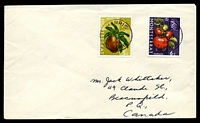 Lot 3943:Harris: 'HARRIS/*/AU18/66/MONTSERRAT' in violet on 5c & 6c fruit to Canada.