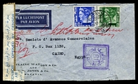 Lot 4395:1940 use of 15c & 40c, cancelled with 'BATAVIA/5.12.40 18/' on cover to Cairo, double-boxed violet bi-lingual '61/POSTAL CENSOR' (A1) on face, original censor tape at left overlaid by Egyptian 'OPENED BY CENSOR' tape, opened roughly and repaired.