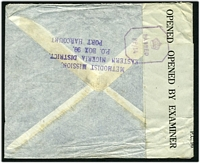 Lot 4207 [2 of 2]:1944 use of 3d & 1/- on air cover to England, 'P.C. 90/OPENED BY EXAMINER' tape at left tied by violet octagonal '[crown]/PASSED/PP/14'.