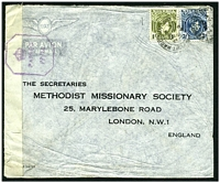 Lot 4207 [1 of 2]:1944 use of 3d & 1/- on air cover to England, 'P.C. 90/OPENED BY EXAMINER' tape at left tied by violet octagonal '[crown]/PASSED/PP/14'.