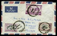 Lot 4455:1959 use of 3d & 1/- plus 'RADIO MEDICAL/ASSISTANCE' cinderella all cancelled with a poor Lagos, on air cover to England.