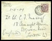 Lot 4355 [1 of 2]:1901: use of GB 1d lilac, cancelled with double-circle 'ARMY POST OFFICE/A/NO1/01/ELANDSFONTEIN' (B1), from Yorks Regt to England, opened a tittle roughly.