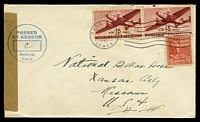Lot 28964:1943 use of 10c+15c air pair, cancelled with Pago Pago machine on air cover from Samoa to Kansas City, plain censor tape at left, light 'PASSED/BY CENSOR/American/Samoa' (A1).