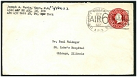 Lot 4767:1945 use of 2c Envelope surcharged with boxed 'AIR 6 MAIL' (H&G #FB5), cancelled with 'U.S. ARMY POSTAL SERV