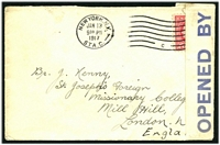"Lot 4267:1917 use of 2c Washington, cancelled with New York Station C machine cancel on cover to London, blue on white 'OPENED BY/CENSOR./""P1752""' tape at left."