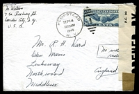 "Lot 4271:1940 use of 30c air, cancelled with 'HEMPSTEAD/SEP14/1130AM/1940.N. Y. - 1' (A1), on cover to England, 'P.C. 90/OPENED BY/EXAMINER 4078' tape at left, endorsed ""No material/matter"" on face."