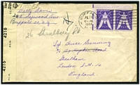 Lot 4272:1944 use of 3c pair, cancelled with Buffalo machine on USO cover to England, '[crown]/OPENED BY/EXAMINER/4216/P.C.90.' tape at left.